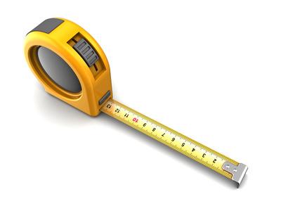 Gelbes Maßband als Icon für Ausmessen